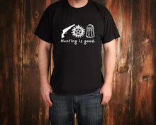 Load image into Gallery viewer, Hunting Is Good on Black T-Shirt by Freak + Pocky