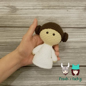 Mini Size Leia the Galaxy Princess Crocheted Poppet Doll by Freak + Pocky