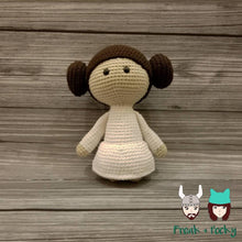 Load image into Gallery viewer, Original Size Leia the Galaxy Princess Crocheted Poppet Doll by Freak + Pocky