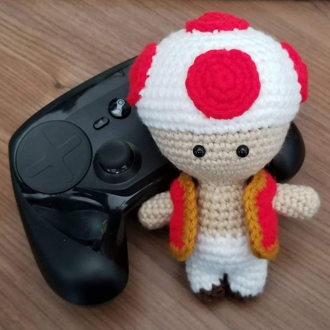 Mini Size Toad the Mushroom Man Crocheted Poppet Doll by Freak + Pocky