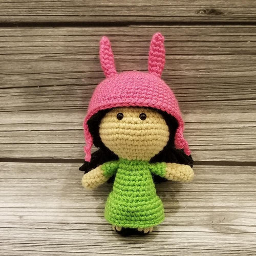 Mini Size Louise the Bunny Girl Crocheted Poppet Doll by Freak + Pocky