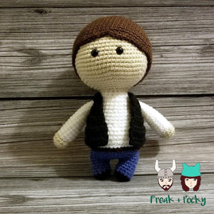 Original Size Han Solo the Galaxy Smuggler Crocheted Poppet Doll by Freak + Pocky