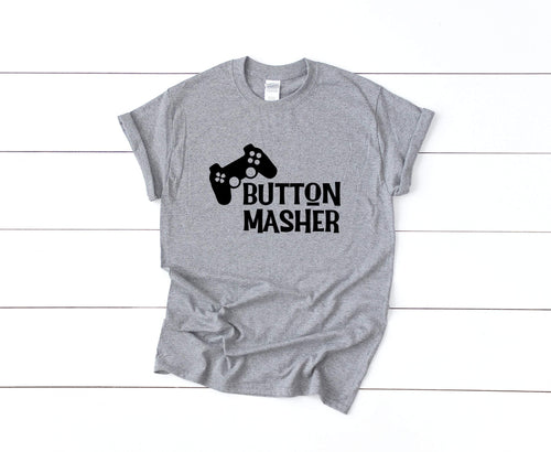 Button Masher on Gray T-Shirt by Freak + Pocky