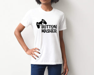 Button Masher on White T-Shirt by Freak + Pocky