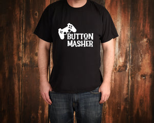 Button Masher on Black T-Shirt by Freak + Pocky