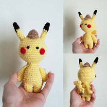 Load image into Gallery viewer, Mini Size Detective Pikachu Crocheted PoppetDoll by Freak + Pocky