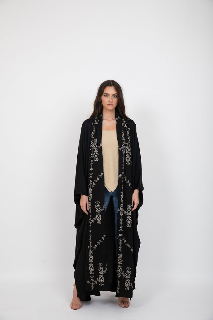 Two Sides Scarf Abaya (off-white)