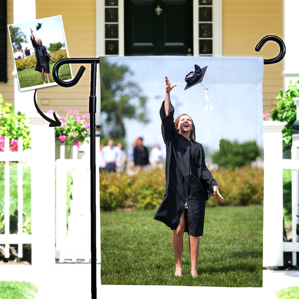 Personalized Garden Flags Graduation Photo Outdoor Family Courtyard Flag Graduation Decorations 2021 (12in x 18in)