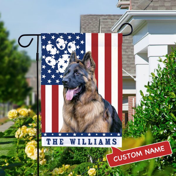 Custom Outdoor Dog Photo With Your Text Garden Flag (12.5in x 18in)