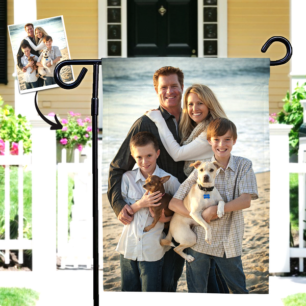 Father's Day Gift Custom Photo Outdoor Garden Flag-To My Family  (12in x 18in)