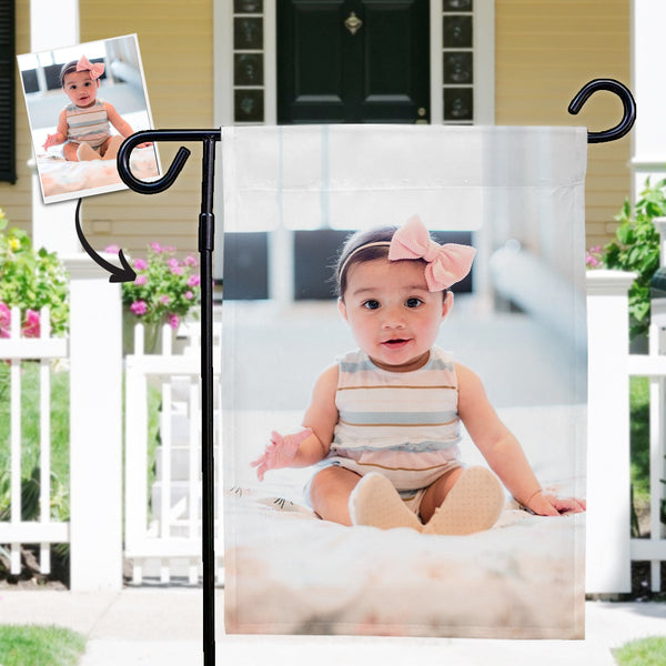 Custom Baby Photo Outdoor Garden Flag Courtyard Flag (12in x 18in)