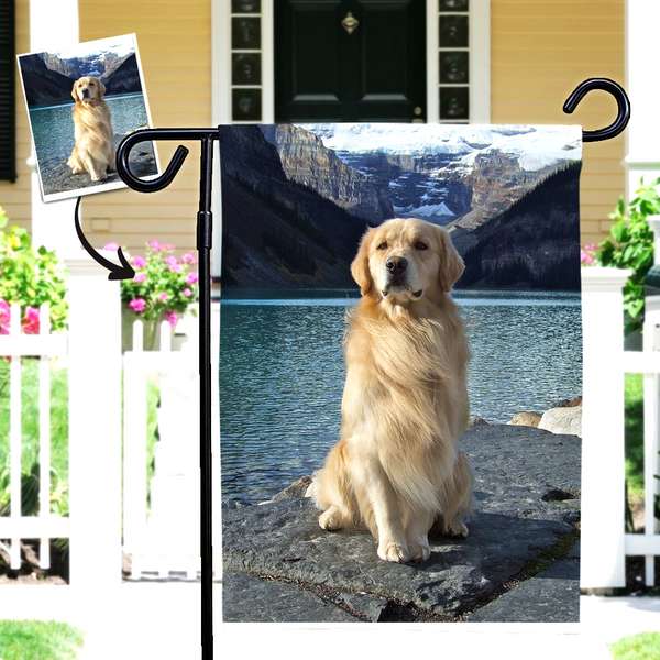 Custom Cute Dog Photo Outdoor Garden Flag  (12in x 18in)