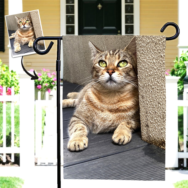 Custom Cat Photo Outdoor Garden Flag Courtyard Flag (12in x 18in)