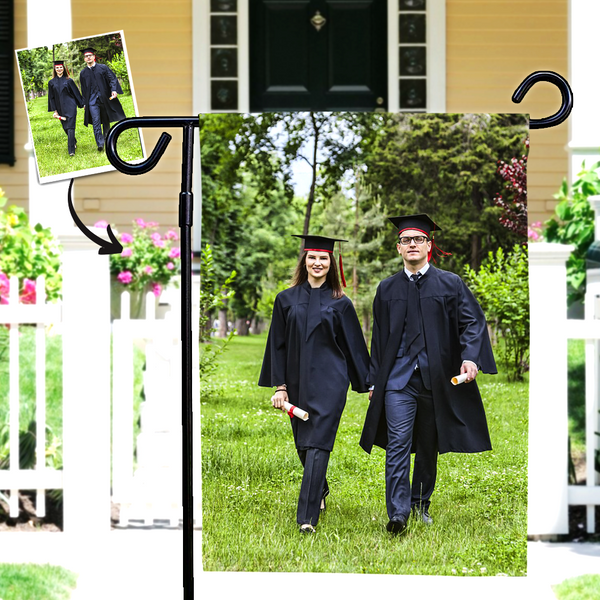 Custom Photo Graduation Garden Flag Family Outdoor Courtyard Flag- Happy Graduation (12in x 18in)
