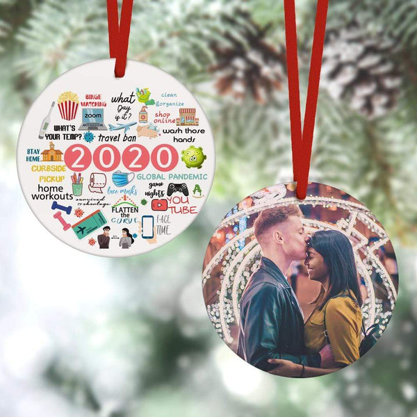 Custom Christmas Ornament Christmas Gifts 2 Sided - 2020 Annual Events(8cm x 8cm)