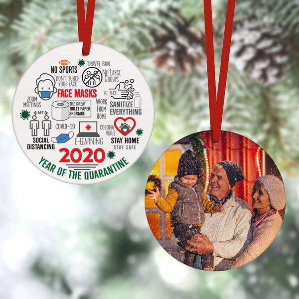 Custom Christmas Ornament Christmas Gifts 2 Sided - 2020 Year Of The Quarantine(8cm x 8cm)