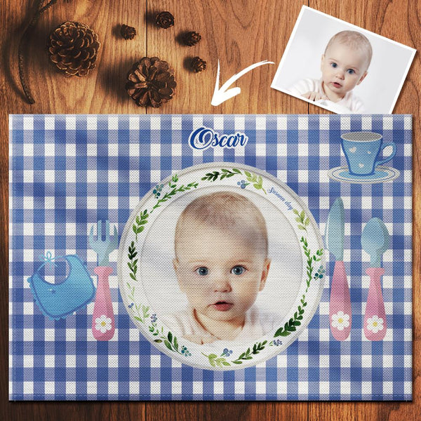 Custom Blue Gingham Photo Placemat With Name - For Boy