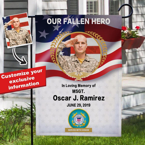 Custom Coast Guard Photo Garden Flag with Name Served with Honor MSGT Personalized Military Rank Garden Flag