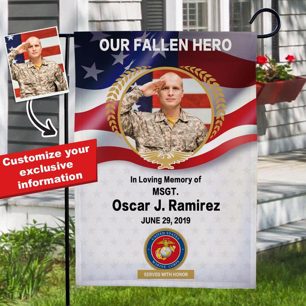Custom Marine Corps Photo Garden Flag with Name Served with Honor PFC Personalized Military Rank Garden Flag