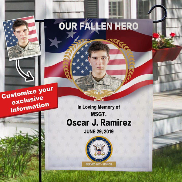 Served with Honor Custom Photo Navy Garden Flag with Name Personalized Military Rank Garden Flag