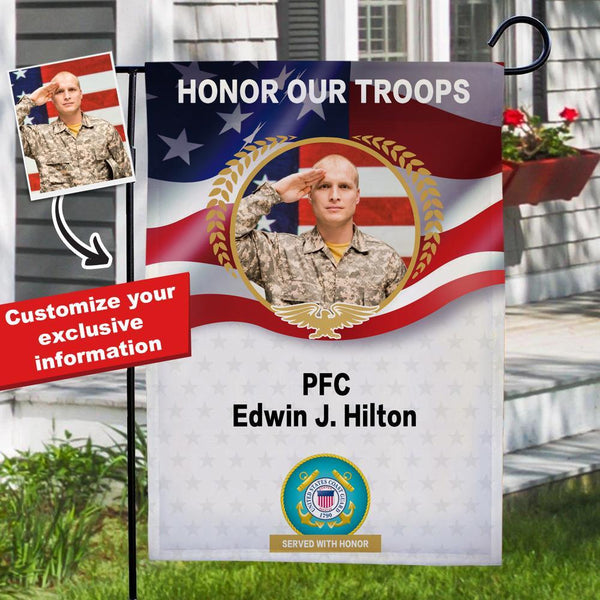 Personalized Yard Flag, Memorial Garden Flag, Fallen Soldier Garden Flag