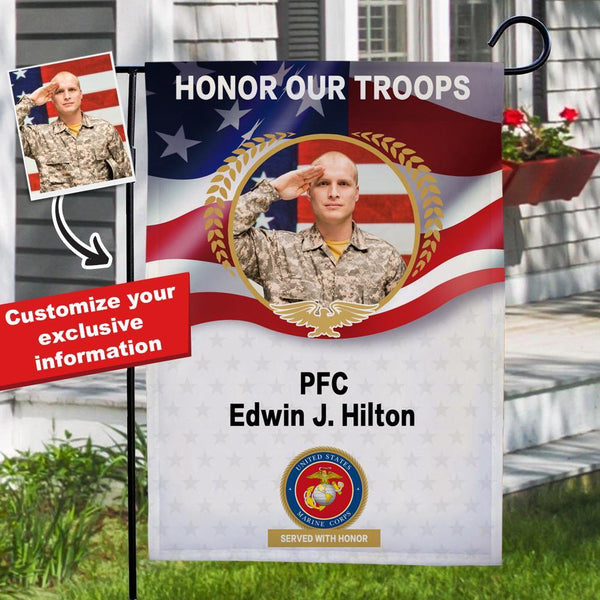 Personalized Military Marine Coprs Garden Flag Custom Photo Garden Flag with Name - Honor Our Navy Troops