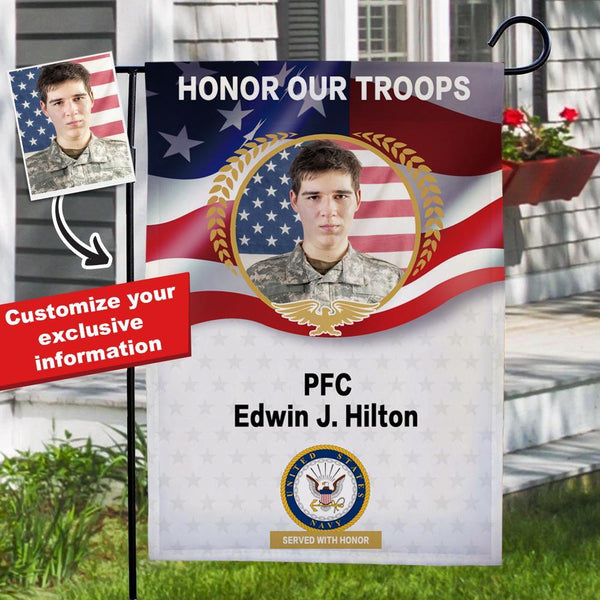 Personalized Honor Our Troops Flag, Military Garden Flags, Commemorative Navy Flags