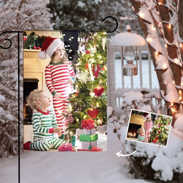 Custom Outdoor Christmas Children Photo Garden Flag  (12in x 18in)