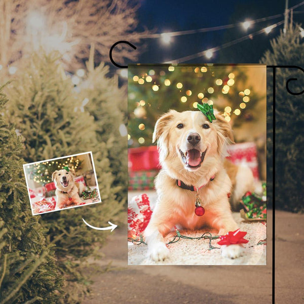 Custom Outdoor Christmas Dog Photo Garden Flag  (12in x 18in)