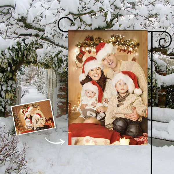 Custom Outdoor Christmas Family Photo Garden Flag  (12in x 18in)