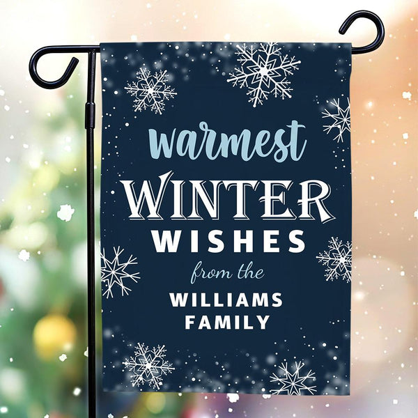 Custom Outdoor Winter Family With Your Text Garden Flag