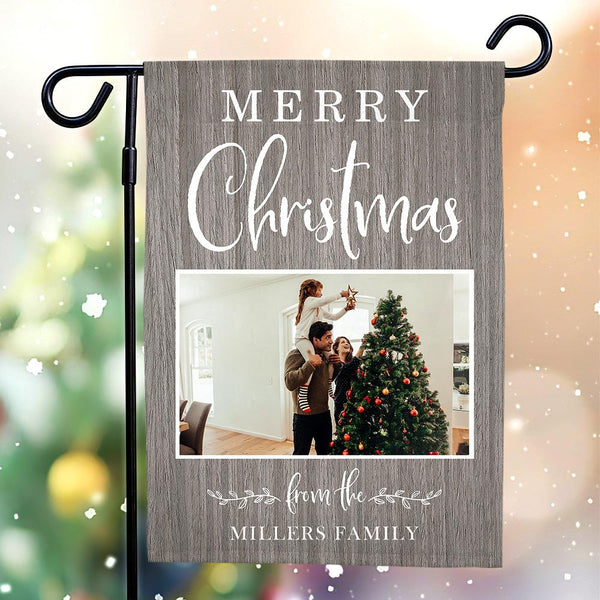 Custom Outdoor Christmas Photo With Your Text Garden Flag
