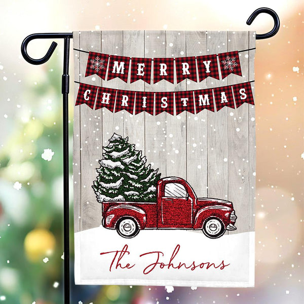 Custom Outdoor Christmas Family With Text Garden Flag