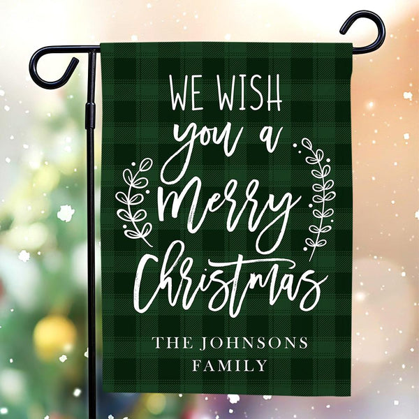 Custom Outdoor Wish Christmas With Text Garden Flag