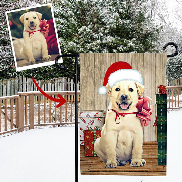 Custom Outdoor Christmas Dog Winter Vertical Garden Flag