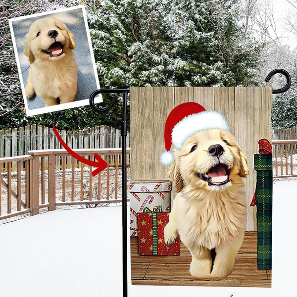 Custom Outdoor Christmas Honey Dog Vertical Garden Flag