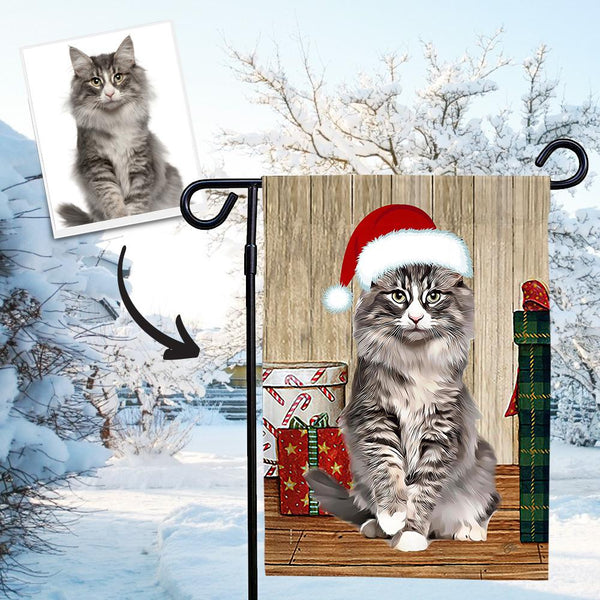 Custom Outdoor Christmas Kitty Winter Vertical Garden Flag