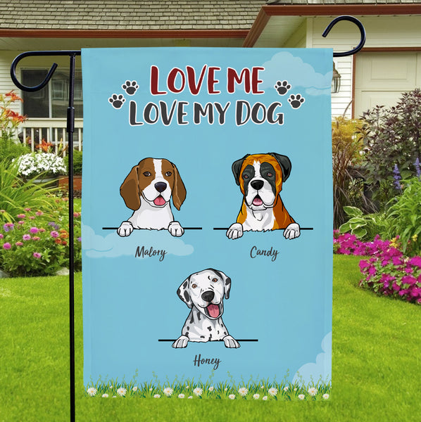 Custom Name Garden Flag With Personalized Choose Multiple Dogs Number