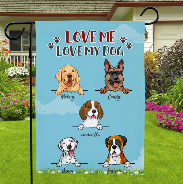 Custom Multiple Dogs Name Garden Flag With Text Family Courtyard Flag