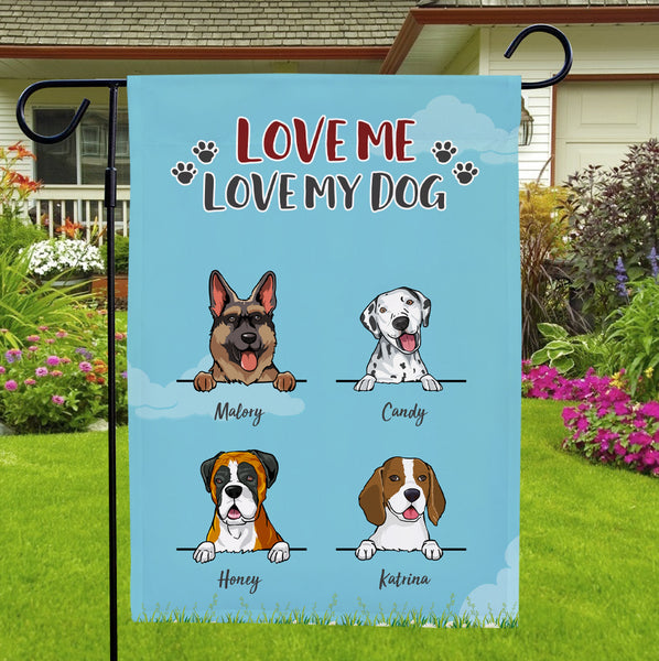 Custom Multiple Dogs Name Garden Flag With Text