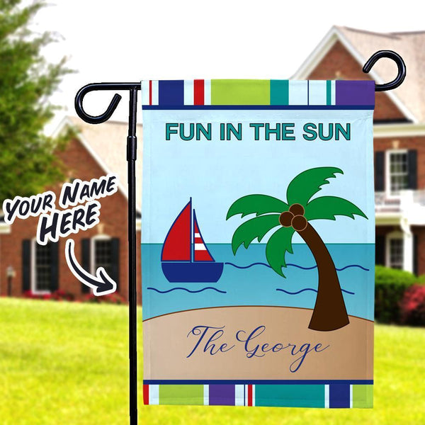 Fun In The Sun Custom Lettering Summer Garden Flag With Family Name