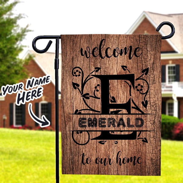 Welcome To Our Home Monogram Custom Lettering Garden Flag With Family Name