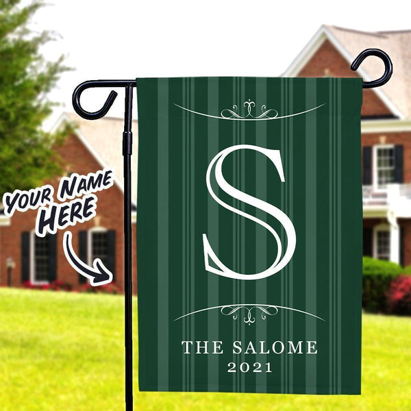 Monogram Custom Lettering Garden Flag With Family Name - Green