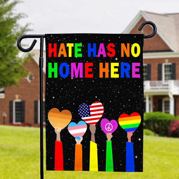 Hate Has No Home Here Garden Flag LGBT Flag Double Side-Colored Hearts Garden Flag