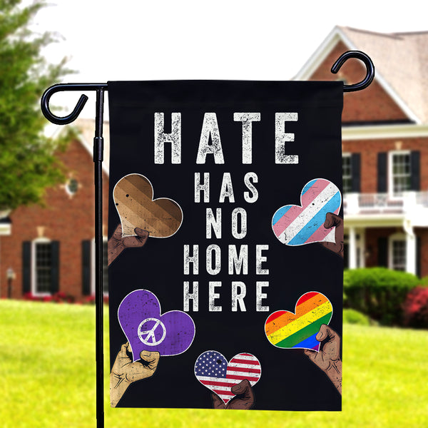 Hate Has No Home Here Garden Flag LGBT Flag Double Side-Hearts Garden Flag