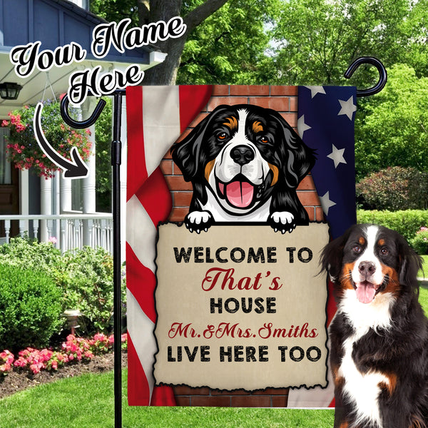 Custom Dog Name Garden Flag Choose Different kinds of Dogs Personalized Outdoor Courtyard Flag  (12in x 18in)