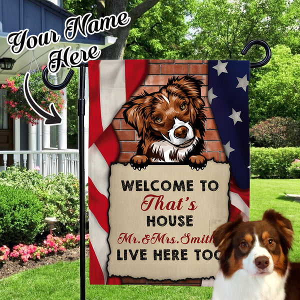 Custom Dog Name Garden Flag Choose Different kinds of Dogs Outdoor Courtyard Flag  (12in x 18in)