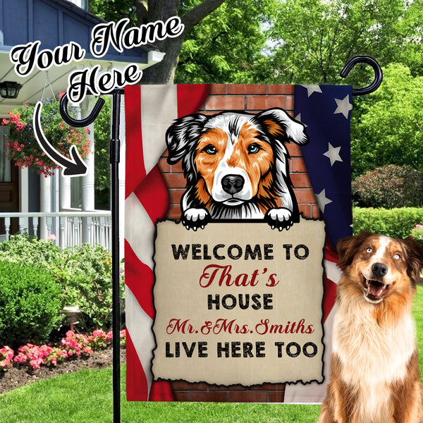 Garden Flag Choose Different kinds of Dogs With Custom Dog Name Personalized Outdoor Courtyard Flag  (12in x 18in)