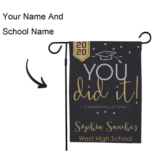 Custom Outdoor Your Name And School Name Graduation Garden Flag (12.5in x 18in)