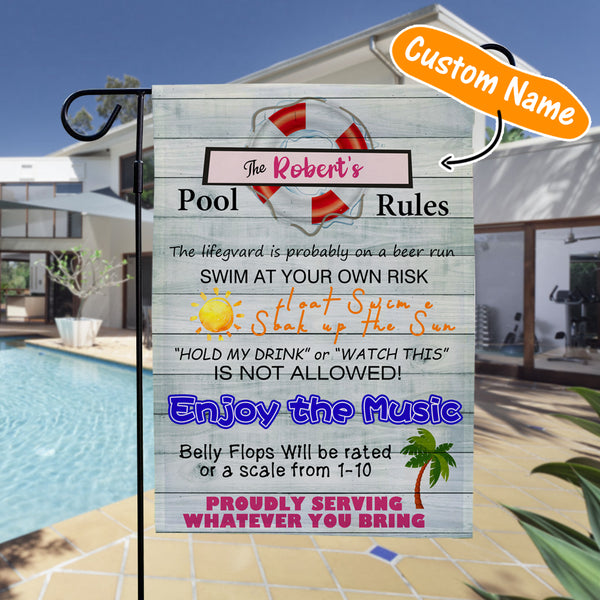 Custom Outdoor Summer Pool Rules With Your Text Garden Flag (12.5in x 18in)